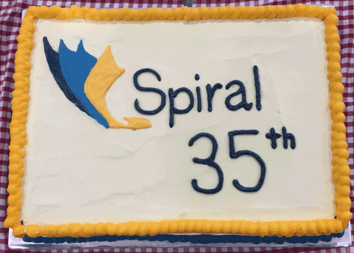 Spiral 35th anniversary celebrations cake
