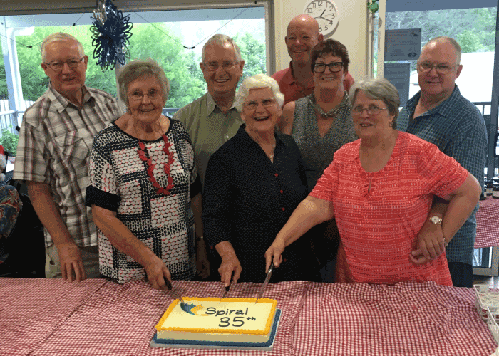 Cutting the cake at the Spiral 35th anniversary celebrations